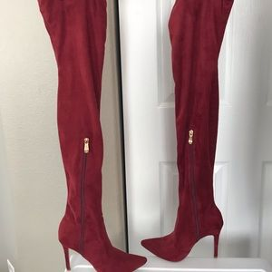 Shoes - Red pointy toe thigh high boots!